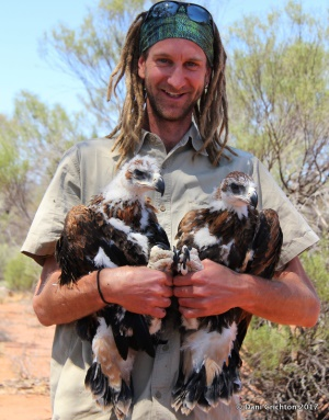 Simon with Wedgetail chicks
