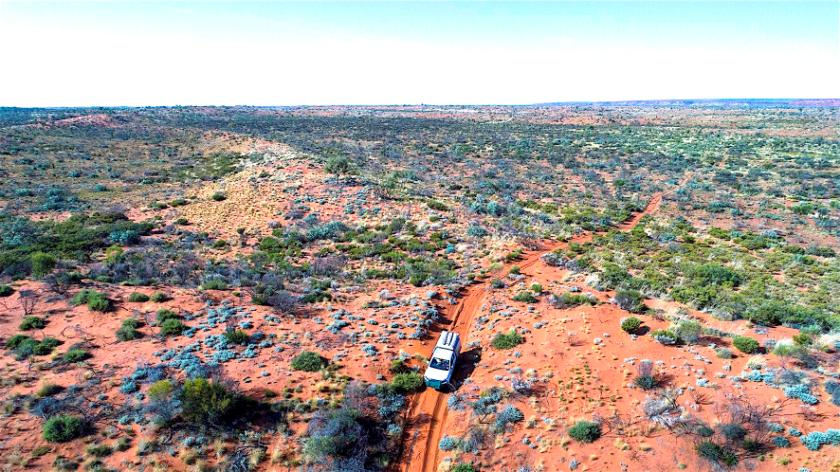 3. Simon's vehicle travelling the Canning Stock Route photographed by a drone, copyright Simon Nevill..jpg