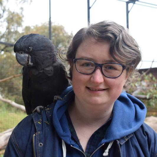 Erica with cockatoo